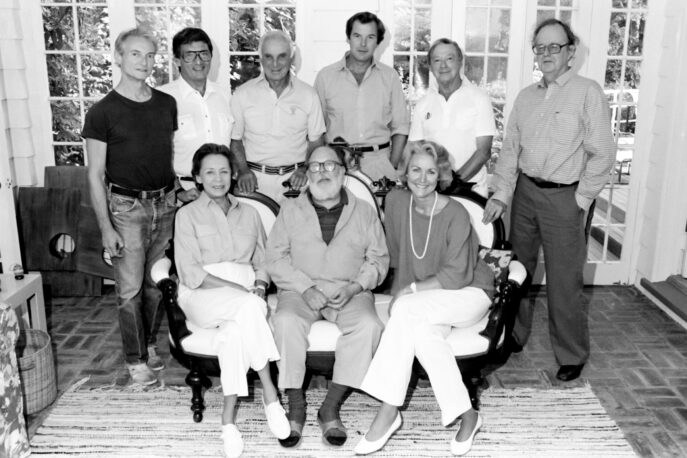 Original Awards Committee: (standing) Roy Lichtenstein, Frank Perry, Joseph F. Cullman 3rd, Peter Jennings, Sydney Gruson, Wilfred Sheed; (seated) Elaine Steinbeck, Henry Geldzahler, Sherrye P. Henry. Photo by Ramesh Das